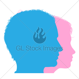 325x325 Man And Woman Faces Silhouette Gl Stock Images