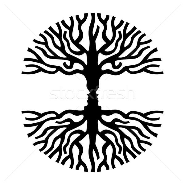 600x600 Men Faces In Tree Silhouette Optic Art Symbol Vector Illustration