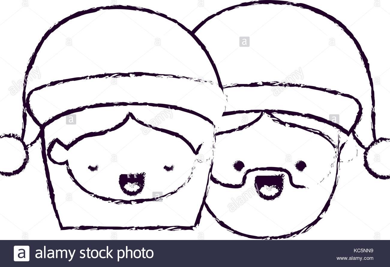 1300x890 Santa Claus Couple Cartoon Faces Woman Eyes Closed And Man