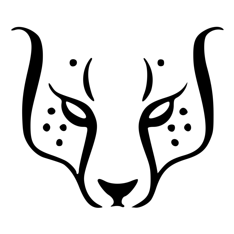 1500x1500 Cheetah Face Clipart Black And White