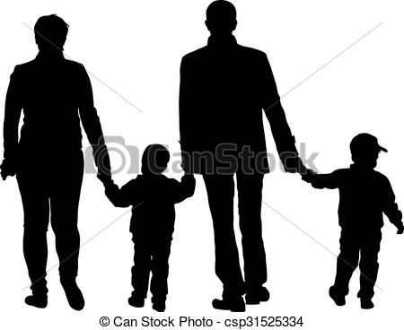 450x368 Black Silhouettes Family On White Background. Vector Vectors
