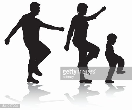 456x380 Family Walking Silhouettes Premium Clipart