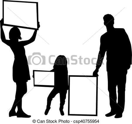 450x423 Silhouette Family With Placards. White Background. Clipart Vector