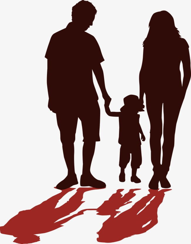 Silhouette Of Family Holding Hands