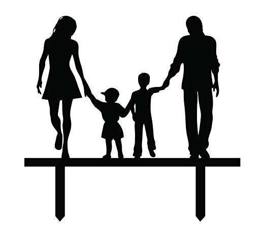 522x468 Wedding Cake Topper With Children Family Silhouette Cake Topper