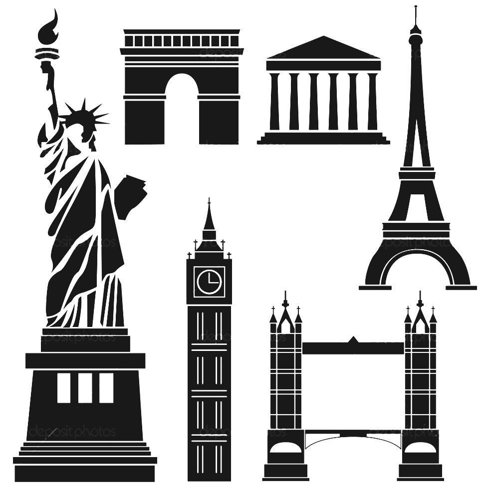 972x973 Famous European Landmarks Postcard By Shop