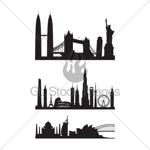 500x500 Famous Landmarks Cityscape Gl Stock Images