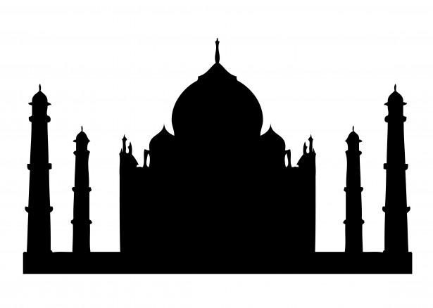 615x438 Taj Mahal Temple Silhouette. Vector By Aleks Melnik, Via