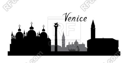 400x203 Venice Famous Landmarks Skyline Royalty Free Vector Clip Art Image