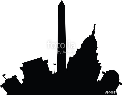 500x387 Cartoon Building Silhouette Of Famous Landmarks In Washington D.c.