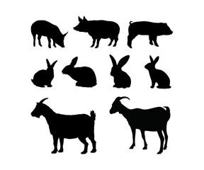 288x240 Vector Farm Animals Silhouettes Livestock Goat Sheep Cow Horse Set