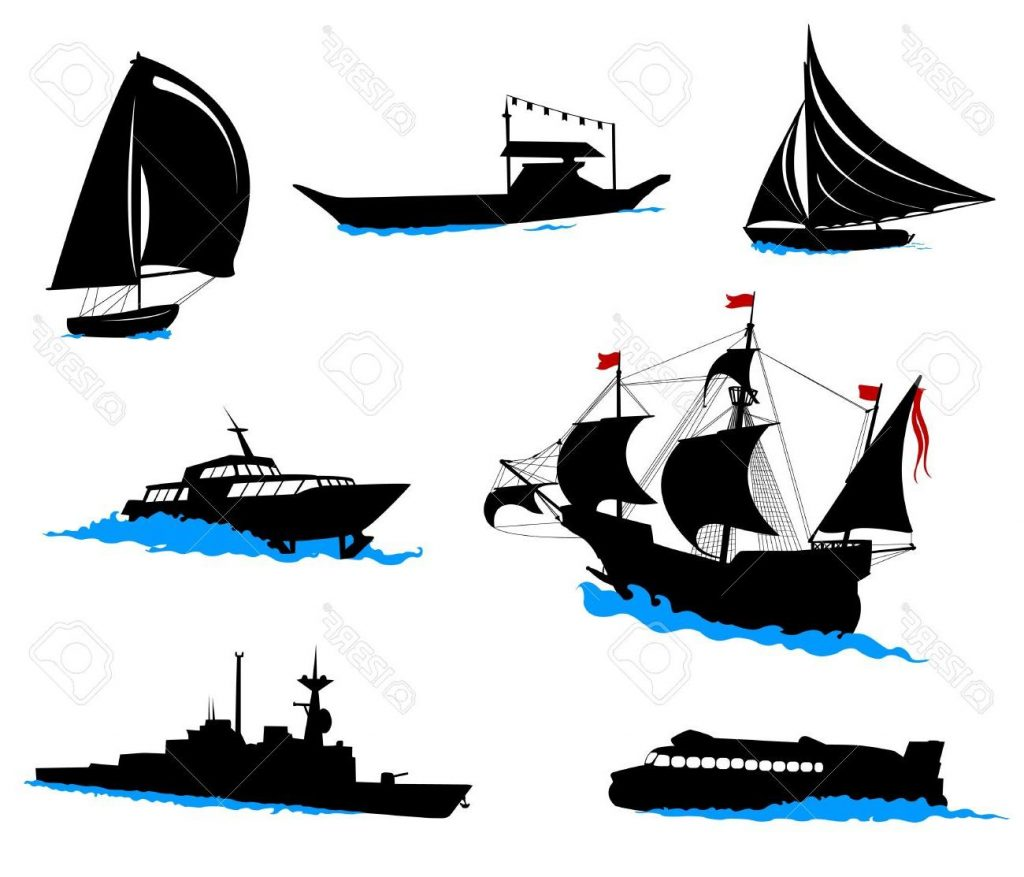 1024x877 Unique Silhouettes Of Offshore Ships Yacht Fishing Boat