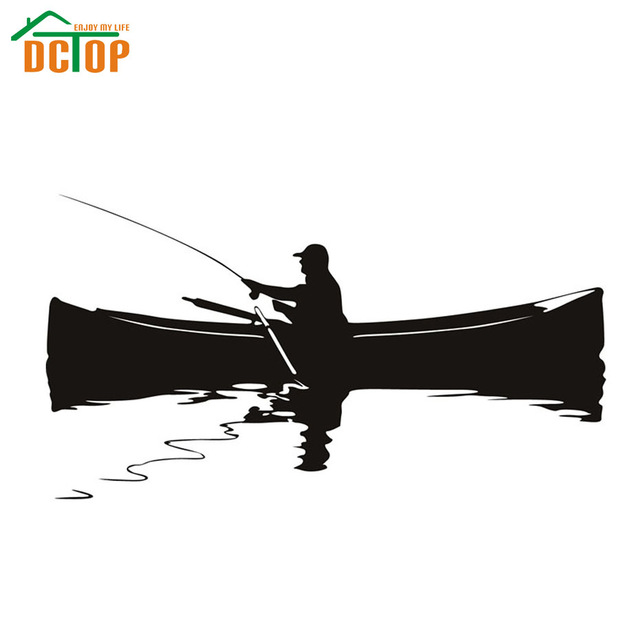 640x640 Dctop Modem A Man Fishing On The Boat Silhouette Wall Sticker