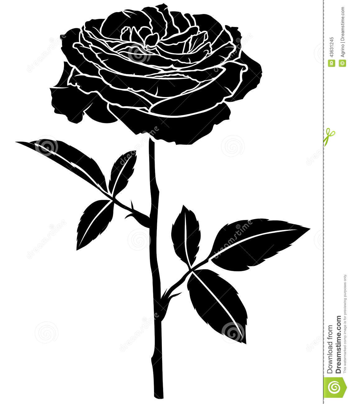 1130x1300 Rose Flower Silhouette Stock Vector