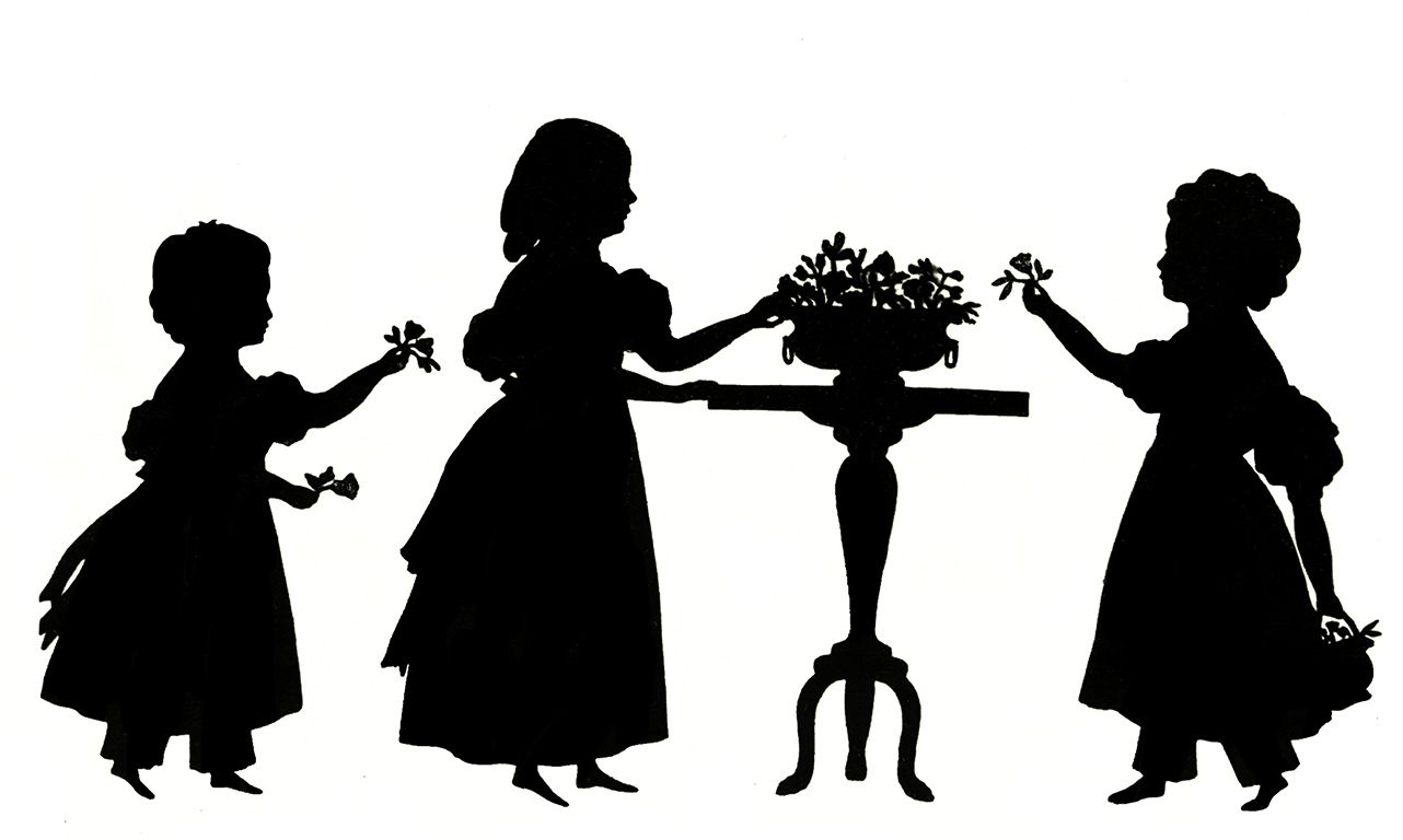 1282x768 Three Little Victorian Girls With Flowers Clipart Silhouette