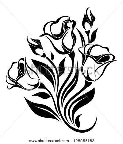 403x470 Black Silhouette Of Flowers Ornament. Vector Illustration. By