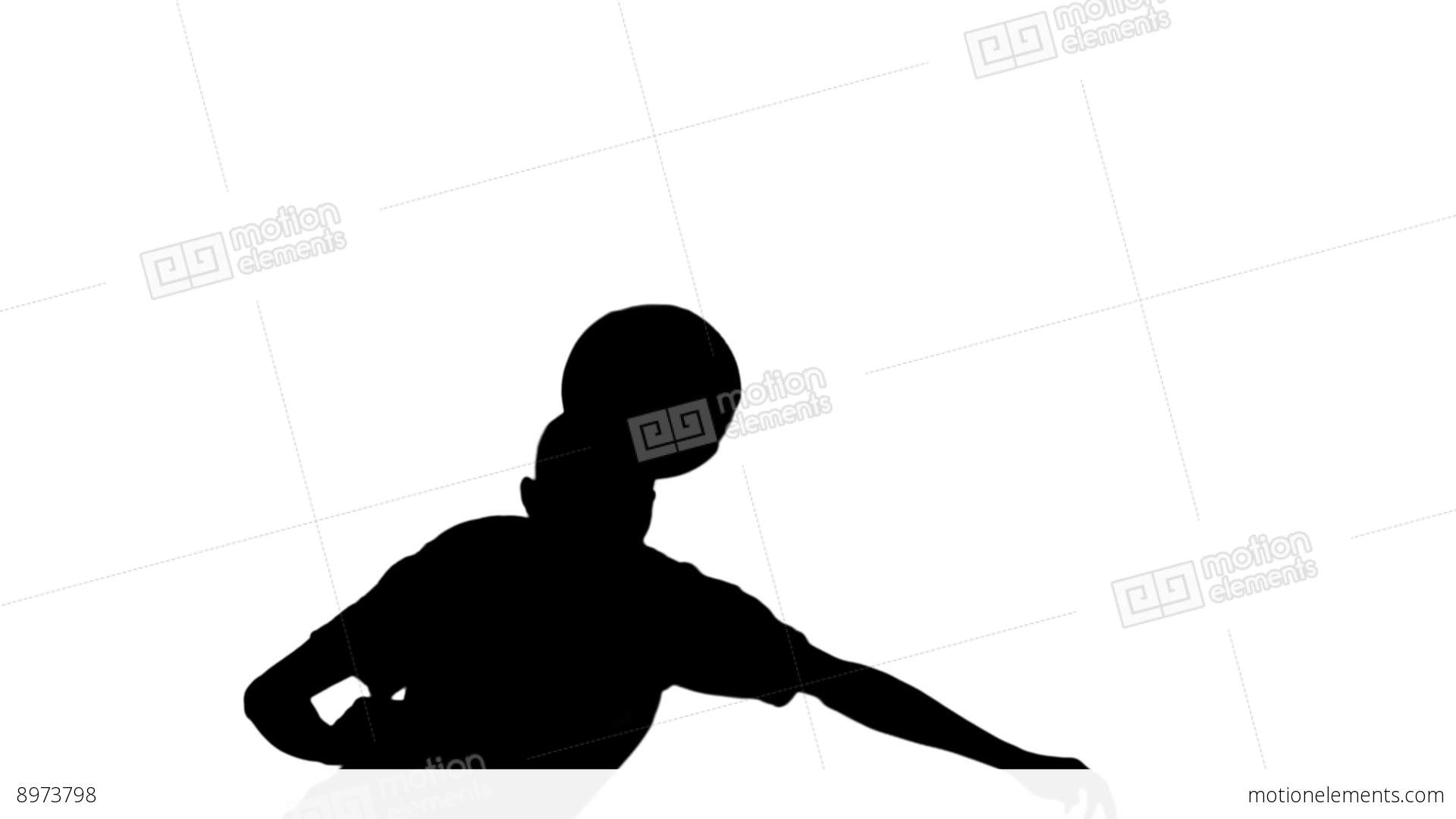 1920x1080 Silhouette Of Football Player Heading The Ball Stock Video Footage