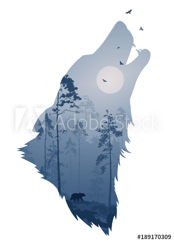 360x500 Silhouette Of The Head Of The Howling Wolf. Inside It Is A Night