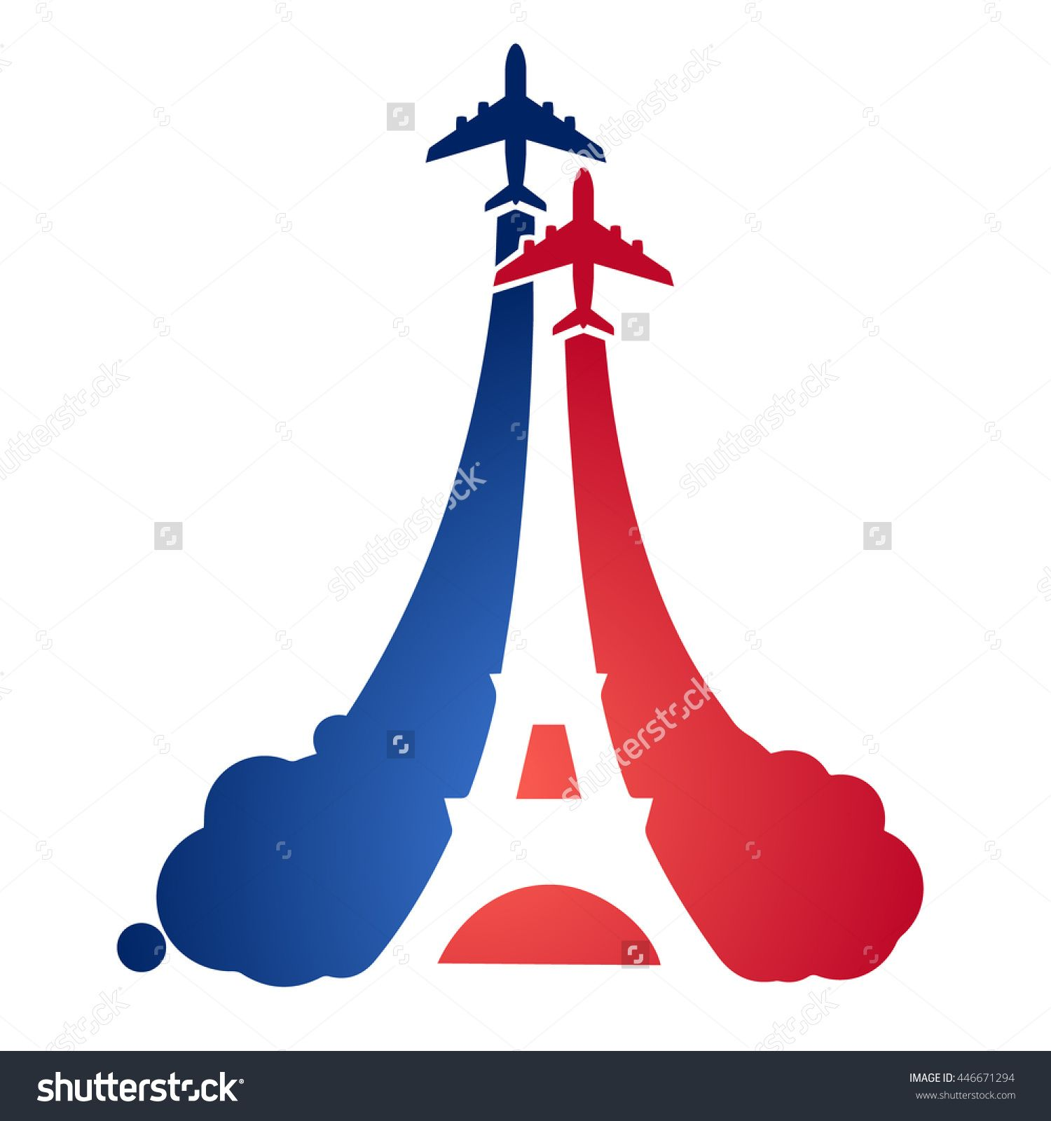 1500x1600 Logo As A Tourist Flying Aircraft, With A Silhouette Of The Eiffel