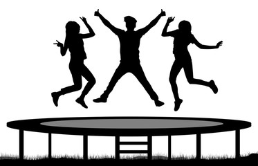 373x240 Jumping People On A Trampoline Silhouette, Jump Cheerful Friends