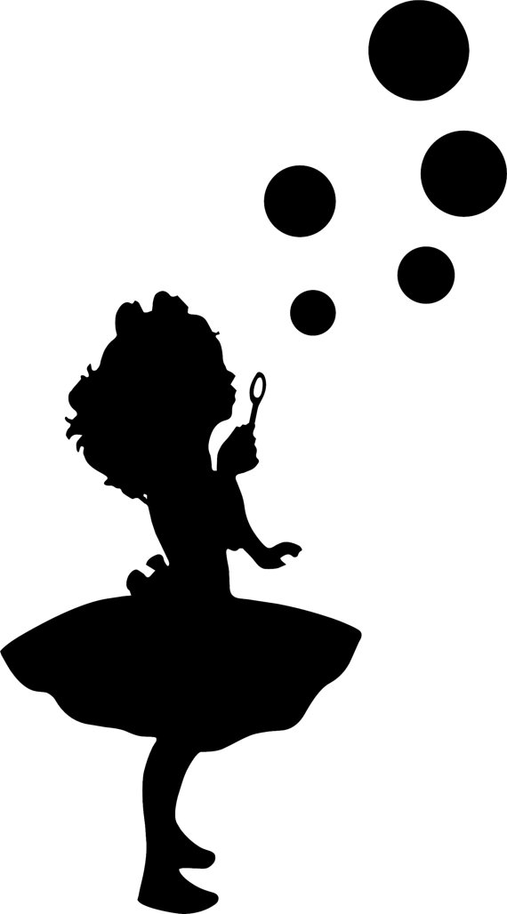 570x1028 Girl Blowing Bubbles 2 Girls Room Wall Decal By Brithedecalguy