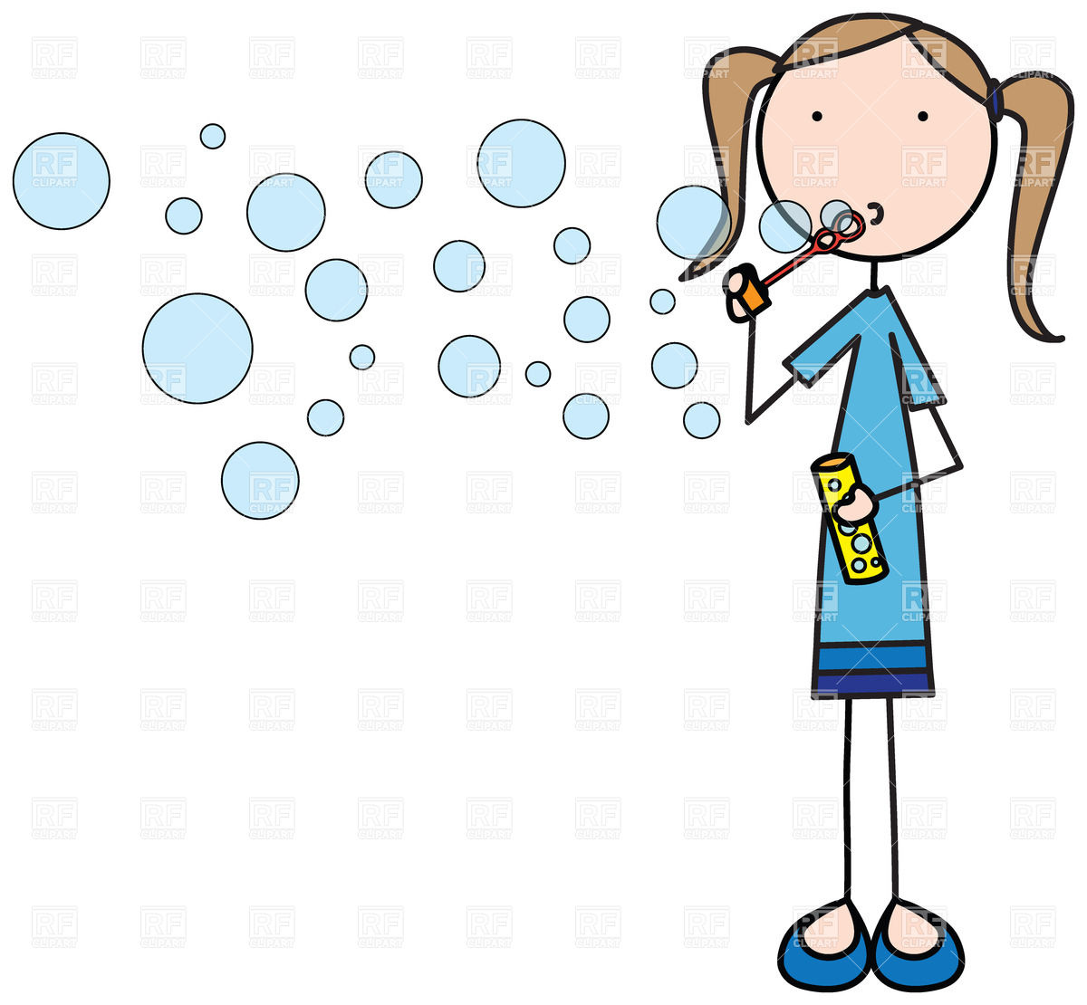 1200x1110 Girl Blowing Soap Bubbles Royalty Free Vector Clip Art Image