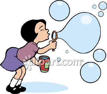 350x306 Little Girl Clipart Blowing Bubble