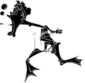 300x292 Black Silhouette Of A Man Wearing Flippers And Blowing Bubbles