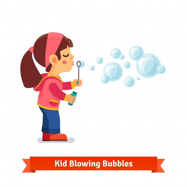 626x626 Cute Little Girl Blowing Soap Bubbles Through Wand Vector Free