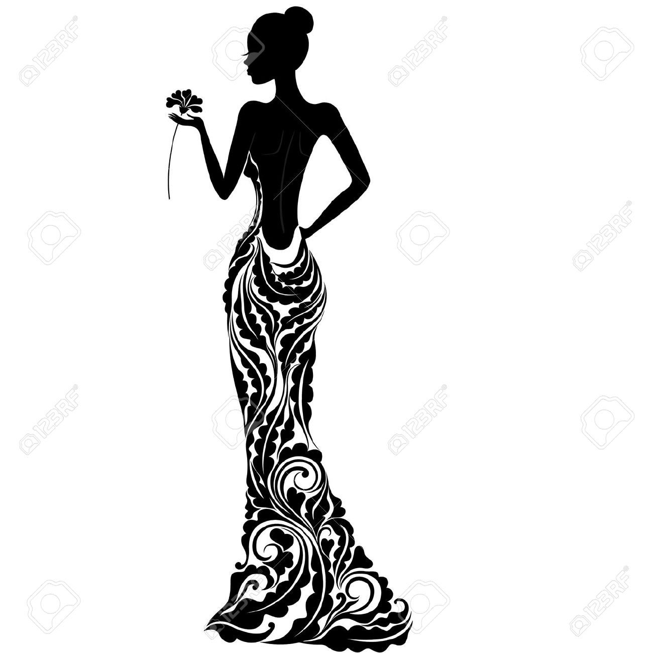 Silhouette Of Girl In Dress