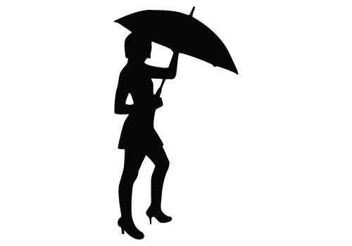 500x350 Lady Standing Umbrella Silhouette Clipart Collection