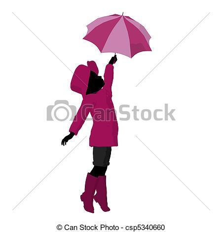 450x470 Rain Girl Silhouette Illustration. Rain Girl Illustration Stock