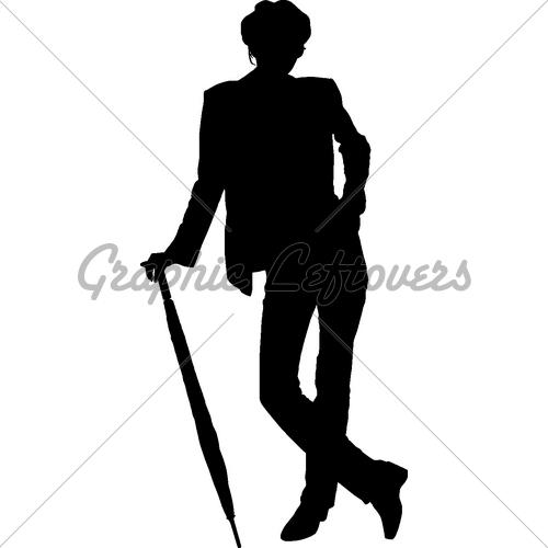 500x500 Silhouette Girl Whit Umbrella Gl Stock Images