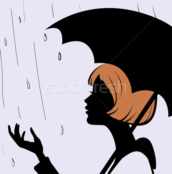 596x600 Beautiful Young Girl Face Silhouette With Black Umbrella On Rain