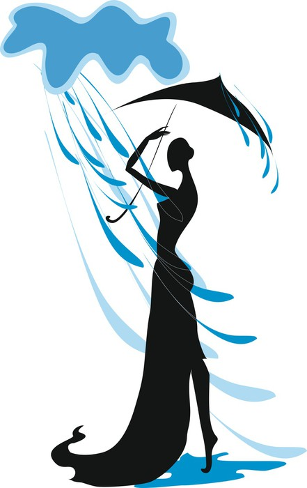 441x700 Silhouette Of A Girl With An Umbrella In The Rain Wall Mural