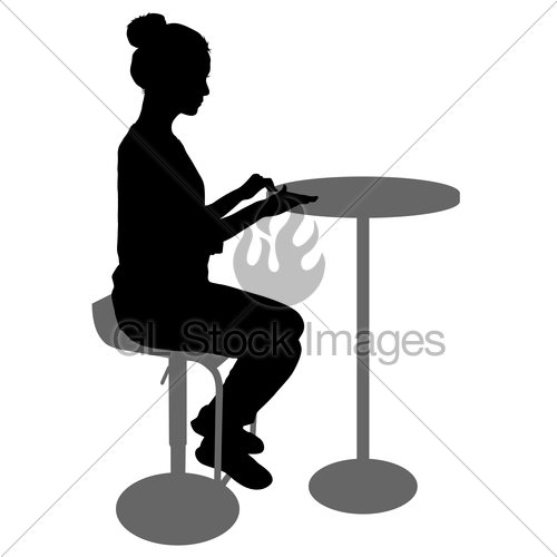 500x500 Silhouette Girl Sitting On A Chair White Background Gl Stock Images