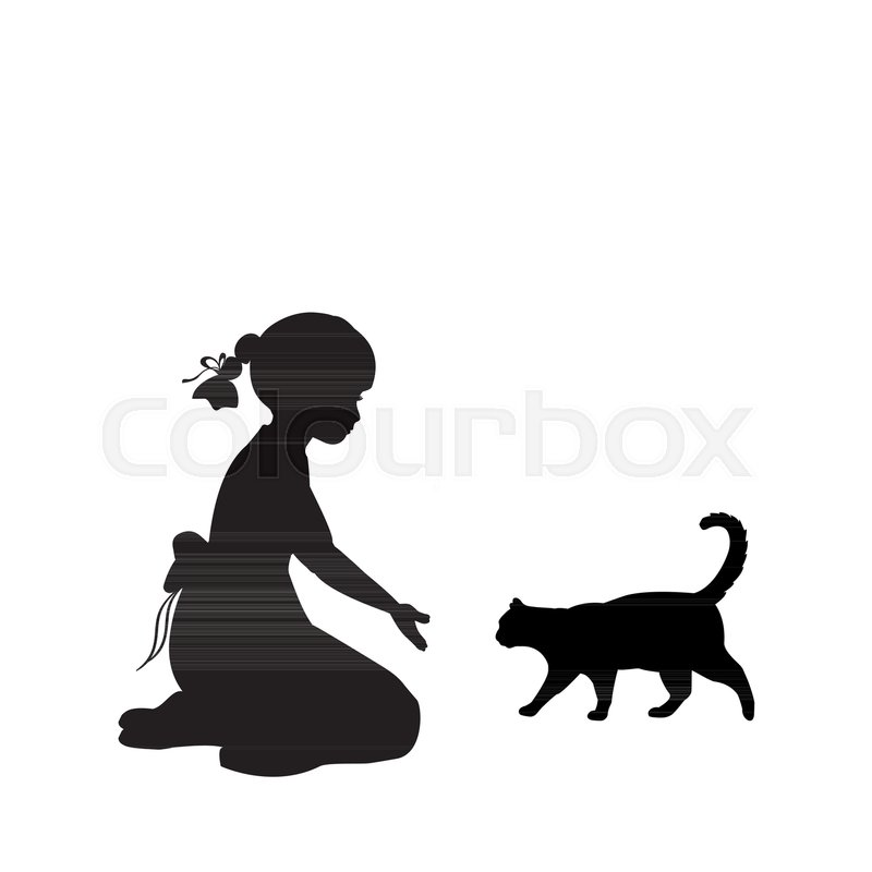 800x800 Silhouette Girl Sitting Knees Beckon Cat. Vector Illustration