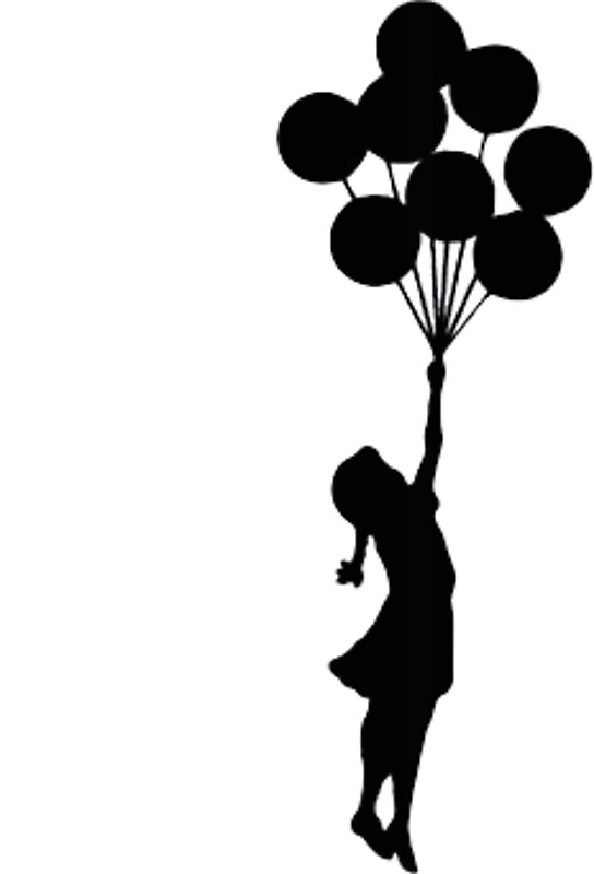 Silhouette Of Girl With Balloons