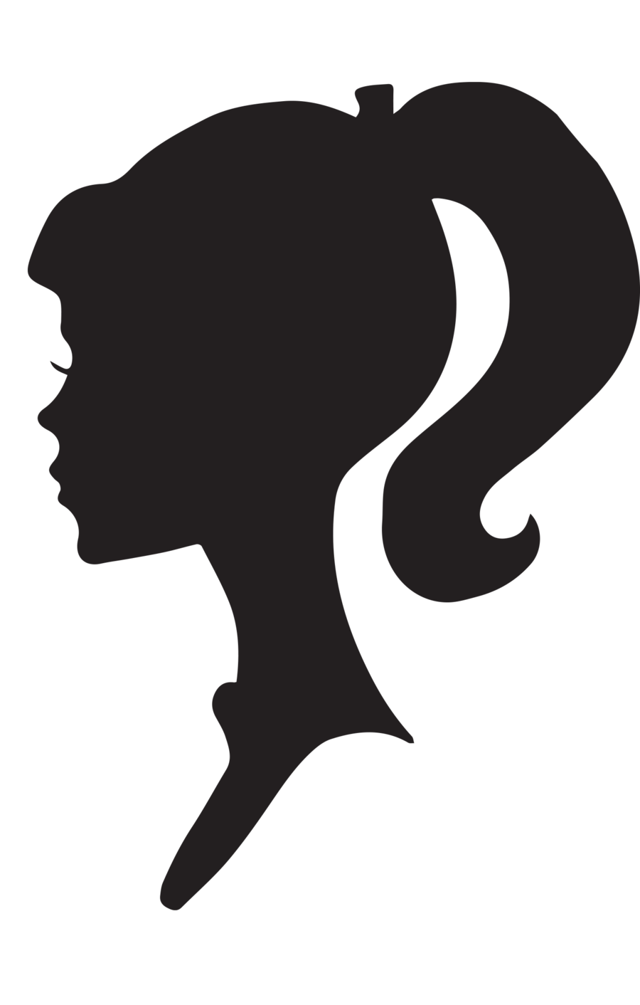 Silhouette Of Girl With Umbrella