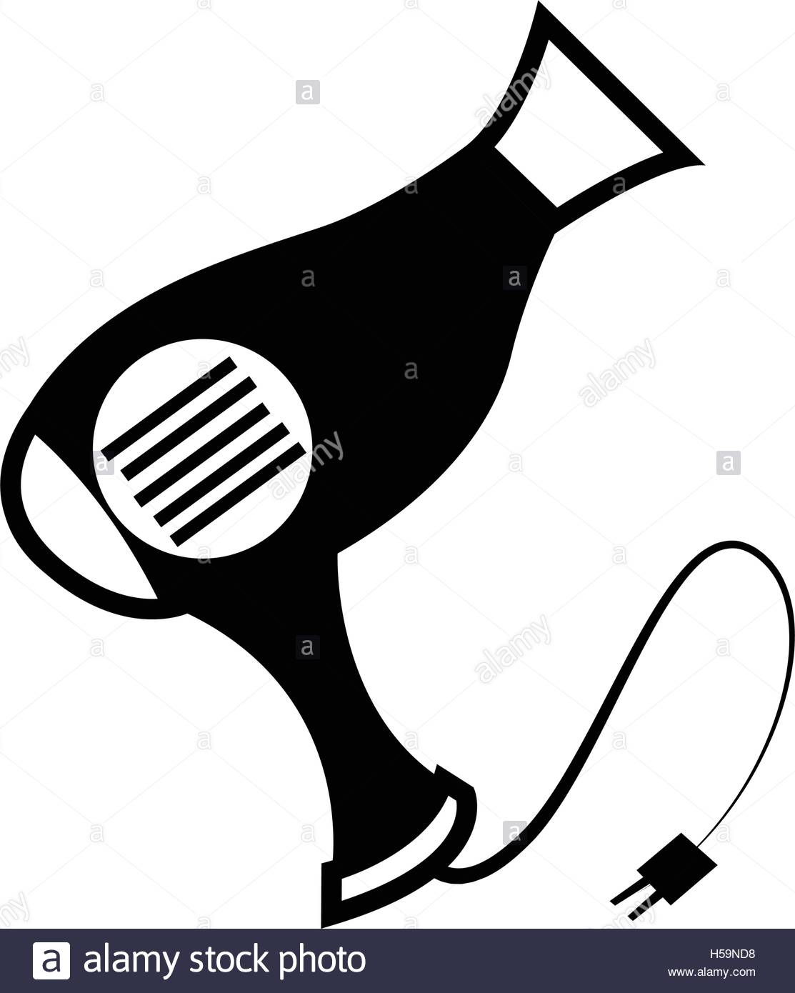 1113x1390 Isolated Silhouette Of A Hair Dryer, Vector Illustration Stock