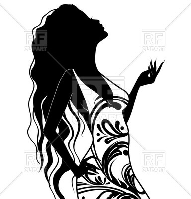 384x400 Silhouette Of Young Woman With Long Hair Royalty Free Vector Clip