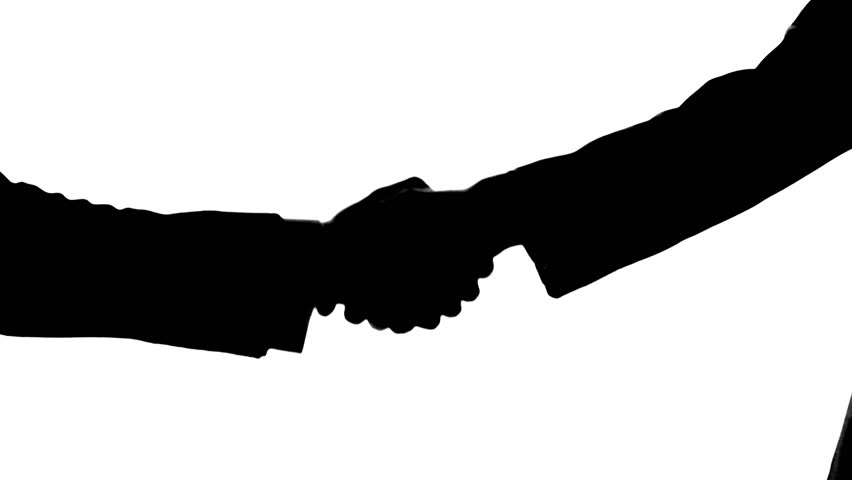 852x480 Businessmen Shaking Hands With Each Other, Silhouette, Going