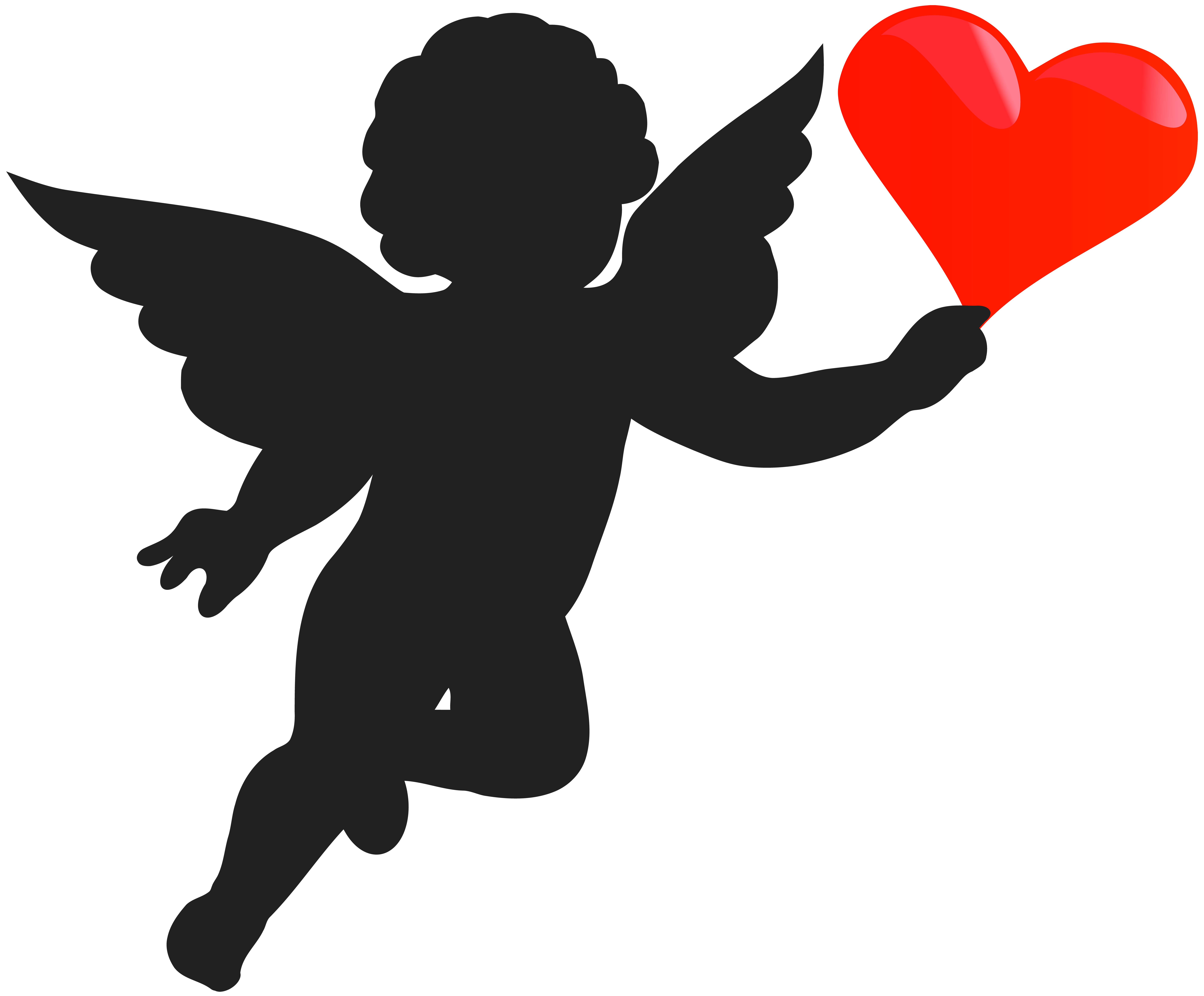 8000x6619 Cupid With Heart Silhouette Png Clip Art Imageu200b Gallery
