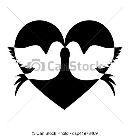 450x470 Lovebirds Silhouette In Heart Cartoon Icon Image Vector Clip