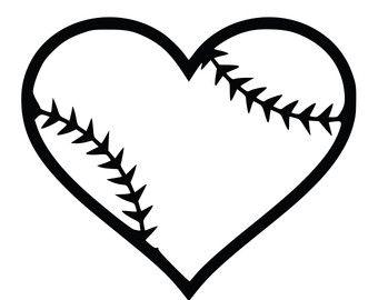 340x270 Softball Heart Clipart Black And White