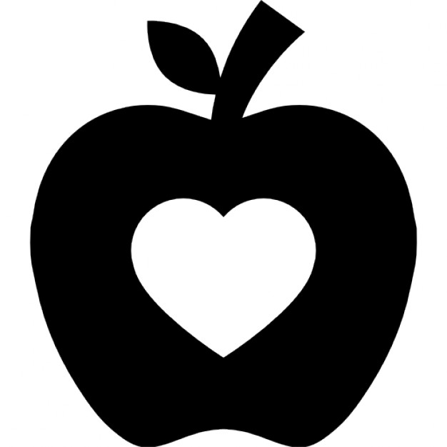 626x626 Apple Silhouette With Heart Shape Icons Free Download
