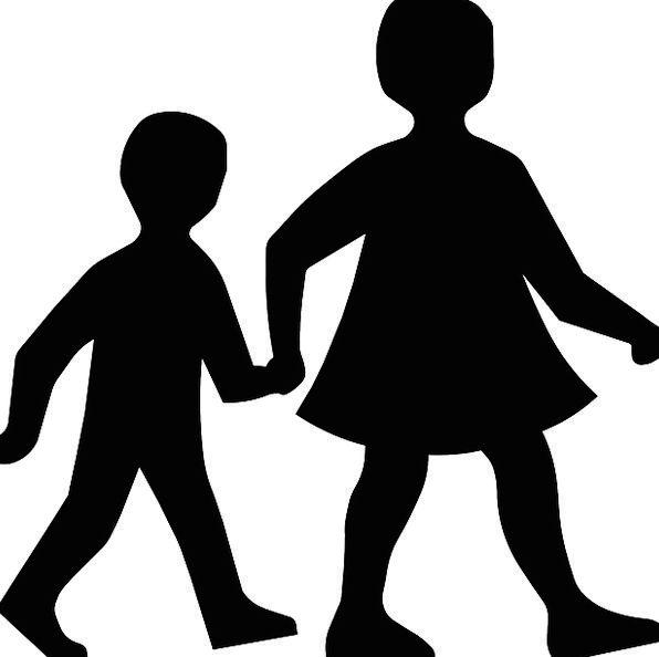 596x594 Children, Broods, Holding Hands, Walking, Silhouette, Outline