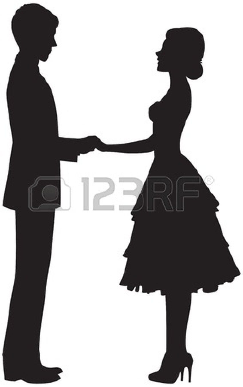 849x1350 Silhouette Of A Couple Holding Hands Stock Vector