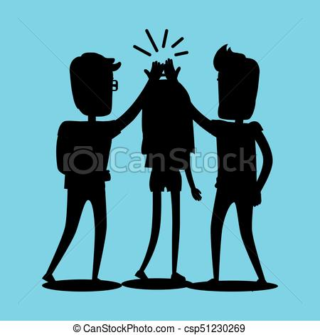 450x470 Silhouettes Of Guys And Girl Clap Hands Together . Clip Art