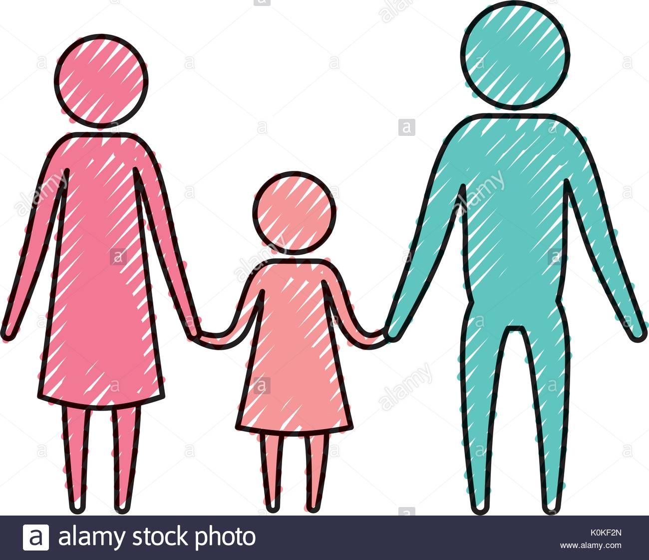 1300x1121 Color Crayon Silhouette Pictogram Parents With A Girl Holding
